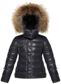 Moncler Armoise Mini Me Jacket w/ Fur-Trim Hood, Size 8-14
