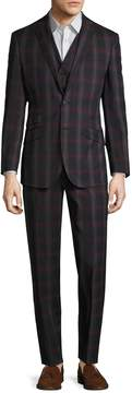 English Laundry Men's Madras Plaid Notch Lapel Three Piece Suit