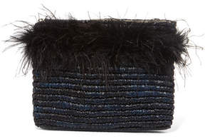 Loeffler Randall Feather-embellished Raffia Clutch - Midnight blue