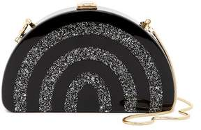 Milly Black and Silver Half Moon Box Clutch
