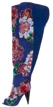 Tom Ford Sequin Flower Thigh-High Boots