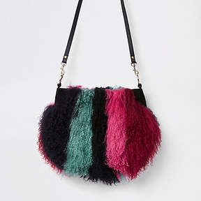River Island Dark red stripe Mongolian fur cross body bag