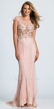 Dave and Johnny Sheer Lace Lattice Beaded Prom Dress