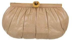Judith Leiber OverSized Karung Pleated Frame Clutch