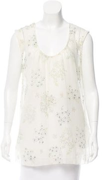 Band Of Outsiders Chiffon Floral Top