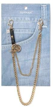 Topman Mens Black Gold Wallet Chain*