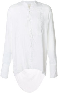 Greg Lauren collarless frayed tuxedo shirt