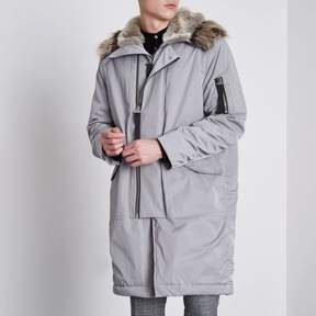 River Island Mens Grey faux fur lined double zip hooded parka