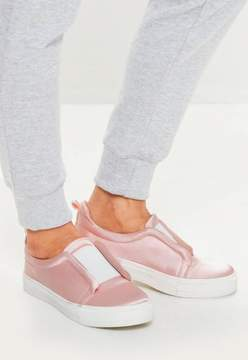 Missguided Pink Satin Slip On Sneakers