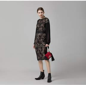 Amanda Wakeley   Black Paisley Lace Midi Dress   Xl   Black