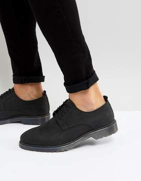 Asos Lace Up Derby Shoes In Black Leather With Ribbed Sole