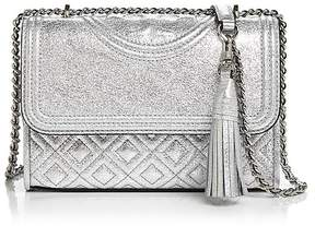 Tory Burch Fleming Metallic Small Convertible Shoulder Bag - SILVER/SILVER - STYLE
