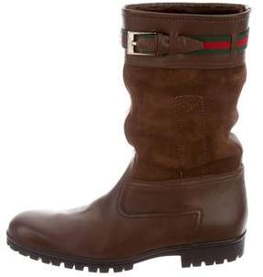 Gucci Web Shearling-Lined Boots