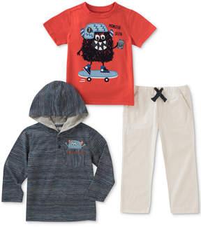 Kids Headquarters 3-Pc. Striped Hoodie, Monster-Print T-Shirt & Pants, Baby Boys