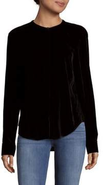 Saks Fifth Avenue BLACK Long-Sleeve Velvet Top