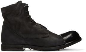 Officine Creative Black Bubble 24 Cap Toe Boots