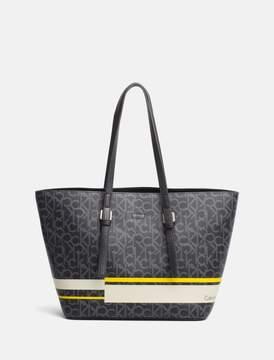Calvin Klein monogram striped tote bag