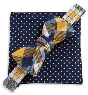 Lord & Taylor Boy's Two-Piece Plaid Bow Tie & Dotted Pocket Square Set