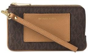 Michael Kors Signature Bedford Medium Double Zip Wristlet - Brown - 32F6GBFW8B-847 - BROWN - STYLE