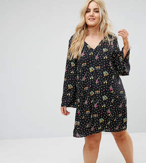 Alice & You Button Front Long Sleeve Swing Dress