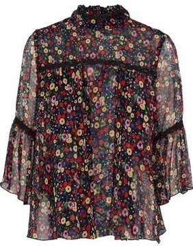 Anna Sui Guipure Lace-Trimmed Floral-Print Silk-Georgette Top
