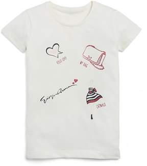 Armani Junior Girls' Sparkly Hello Love Tee - Little Kid, Big Kid