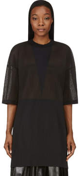 Calvin Klein Collection Charcoal Grey Micro Pleat Intarsia Oversize Top