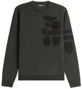 DSQUARED2 Wool Pullover with Embroidered Patches