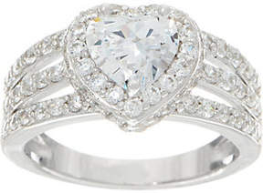 Diamonique Triple Band Halo Ring, Sterling