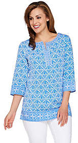 C. Wonder 3/4 Sleeve Printed Tunic withEmbroidery