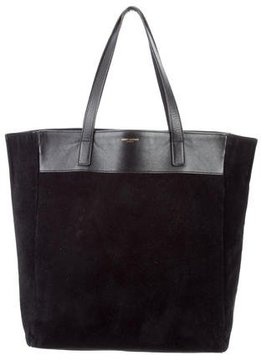 Saint Laurent Suede Reversible Tote - BLACK - STYLE