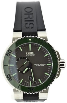 Oris Aquis Small Second Date 7673 Stainless Steel & Rubber Manual 46mm Mens Watch