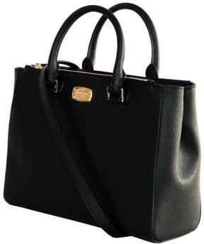 Michael Kors WOMEN'S KELLEN MEDIUM SATCHEL LEATHER Shoulder Handbags (BLACK) - BLACK - STYLE