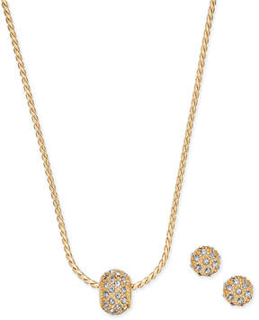 Charter Club Gold-Tone Pave Ball Pendant Necklace and Stud Earrings Set, Created for Macy's