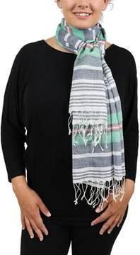 Moschino Scrr11009/3 Grey/green Stripe Scarf.