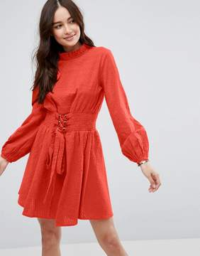 Asos Mini Dress in Grid Texture with Shirred Waist