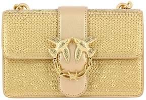 Pinko Mini Bag Love Bag Mini Sequined Crossbody With Laminated Leather Finishings