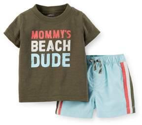 Carter's Baby Boys' 2 Piece Swim Set (Baby) - Olive - 9 Months