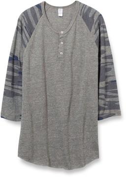 Alternative Apparel Basic Printed Eco-Jersey 3/4 Sleeve Raglan Henley Shirt