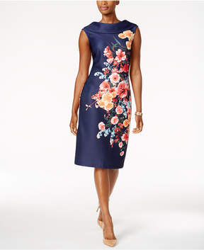 ECI Printed Cap-Sleeve Sheath Dress