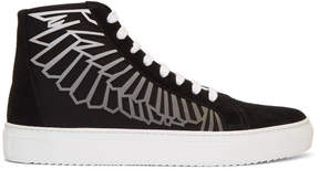 Marcelo Burlon County of Milan Black and Grey Coralie Wings High-Top Sneakers