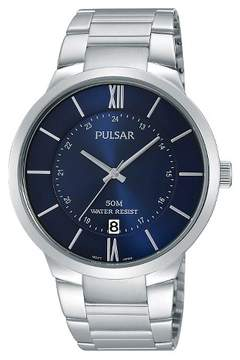 Pulsar Men's Calendar Watch - Silver Tone with Blue Dial - PS9355X