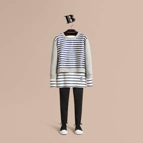 Burberry Striped Cotton Silk Panel Sweatshirt