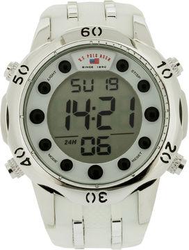 U.S. Polo Assn. USPA Mens White Silicone Strap Digital Watch