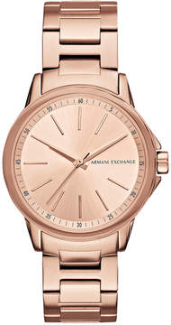 Armani Exchange Women's Rose Gold-Tone Stainless Steel Bracelet Watch 36mm AX4347