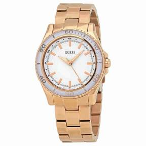 GUESS White Dial Ladies Rose Gold Tone Watch W0557L2