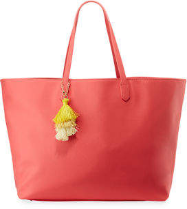 Neiman Marcus Faux-Saffiano Shoulder Tote Bag with Tassel