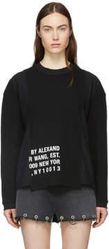 Alexander Wang Black Waffle Jersey Logo Sweatshirt