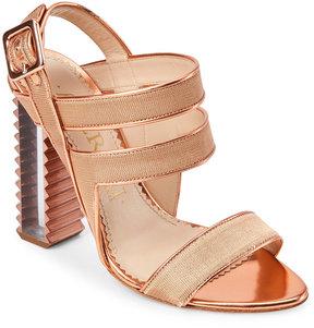 Aperlaï Nude Strappy Lucite-Heel Sandals