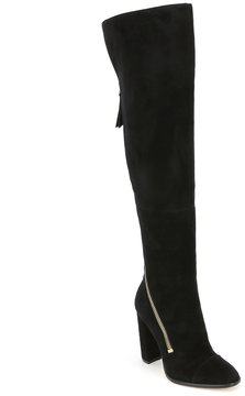 Donna Karan Ariela Suede Asymmetrical Zip Over The Knee Dress Boots